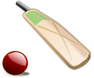 A cricket bat and ball