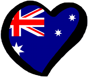 An Australian flag in the shape of a heart