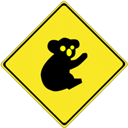 Road sign warning of koala