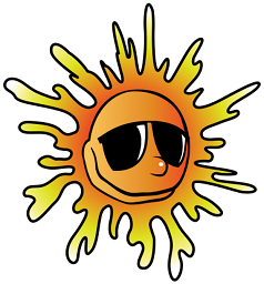 The sun, smiling and wearing sunglasses