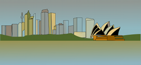 Sydney opera house and the Sydney skyline